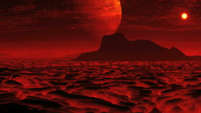 Lava on the planet of aliens and a huge moon stock video footage