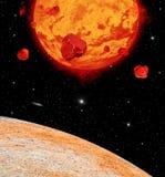 Lava Planet Viewed From e ângulo em sua lua fotos de stock royalty free