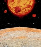 Lava Planet Viewed From its Moon royalty free stock images