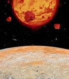 Lava Planet Viewed From zijn Maan royalty-vrije stock afbeeldingen