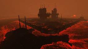 Lava plant illustration. 3D rendered illustration of sci-fi lava factory on lava planet Royalty Free Stock Photo