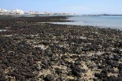 Lava preta na costa de Fuerteventura Foto de Stock