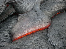 Lava print. Detail of flowing lava magma stream Royalty Free Stock Photography