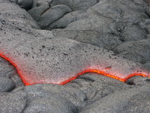 Lava print. Detail of flowing lava magma stream Royalty Free Stock Images