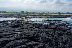 Lava rock Beach in Hawaii Big Island. Place to jump in the ocean from lava rock Royalty Free Stock Photography