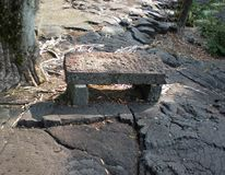 Lava Rock Bench Surrounded by Dried Pahoehoe Lava Royalty Free Stock Photo