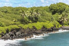 Lava rock coast of Maui, Road to Hana, Hawaii Stock Images