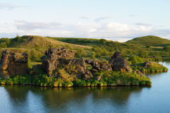 Lava rock formations at Hofdi, Lake Myvatn in Iceland Stock Photo