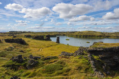 Lava rock formations at Hofdi, Lake Myvatn Royalty Free Stock Photography