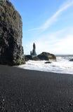 Lava Rock On Reynisfjara Beach in Southern Vik Iceland Royalty Free Stock Photos