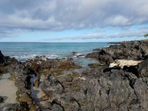Lava Rock Shoreline and Clouds over the Ocean Royalty Free Stock Photos