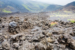 Lava rocks close up on volcano slope of Etna Stock Images