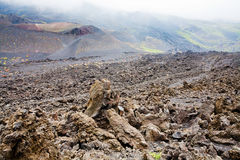 Lava rocks close up on volcano slope of Etna Royalty Free Stock Photo