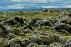 Lava rocks covered by moss with blue sky and mountains in the ba Stock Photos