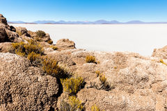 Lava rocks formations Salar De Uyuni islands mountains landscape. Lava rocks formations Salar De Uyuni island mountains scenic landscape beautiful view royalty free stock images