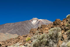 Lava Rocks and Pico del Teide, Tenerife, Spain Stock Images