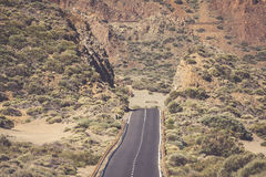 Lava rocks and road in national park El Teide on canarian island Stock Photography