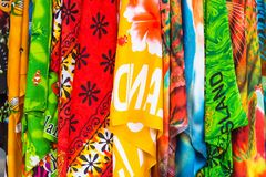 Lava-lava , Sarong for sale in tropical souvenir shop, Rarotonga, Aitutaki, Cook Islands. Close-up.  royalty free stock images