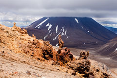 Lava sculptures and volcanoe Mount Ngauruhoe, NZ Stock Photos