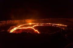 Lava sjö av vulkanErta öl arkivbild