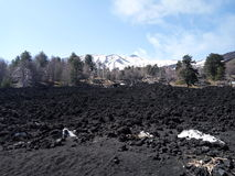 Lava stone and snow. A picture of Etna. In winter the snow covers the lava stone Stock Images