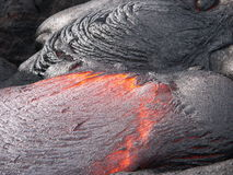 Lava stream. Detail of flowing lava magma stream Royalty Free Stock Image
