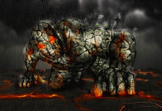 Lava Titan. Titan lava rock stone fire Stock Photo