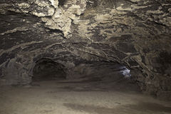 Lava Tube Cave Interior and Exit Passage Holes Royalty Free Stock Photography