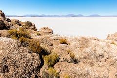 Lava vaggar landskap för berg för bildandeSalar De Uyuni öar Royaltyfria Bilder