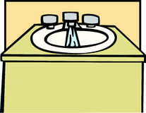 Lavabo con l'illustrazione di vettore dell'acqua corrente Immagine Stock Libera da Diritti