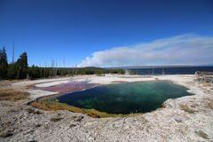 Lavabo del oeste del géiser del pulgar de la piscina del abismo del parque nacional los E.E.U.U. de Yellowstone Fotografía de archivo libre de regalías