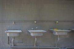 Lavabos viejos en una pared gris Imagen de archivo libre de regalías