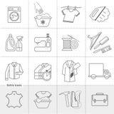 Lavadero de la limpieza en seco y etiquetas lineares de los iconos del vector del servicio del paño que se lavan, logotipos ilustración del vector