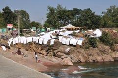 Lavadero de sequía en la India. Orcha Imágenes de archivo libres de regalías