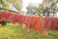 Lavadero en cuerda para tender la ropa en el campo Imagen de archivo libre de regalías