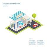 Lavado de la gasolinera y del coche 3D isométrico Stock de ilustración
