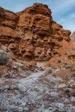 Lavado de Sit Above White Mineral Covered de las rocas del rojo Fotografía de archivo libre de regalías