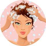 Lavado del pelo stock de ilustración
