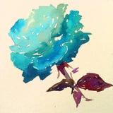 Lavado mojado texturizado colorido de la flor del fondo del arte de la acuarela de la naturaleza del símbolo romántico azul color Imagen de archivo libre de regalías