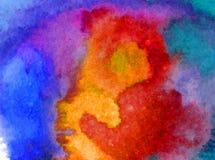 Lavado mojado texturizado colorido del cielo del extracto del fondo del arte de la acuarela de la superficie hermosa de la puesta Imagenes de archivo