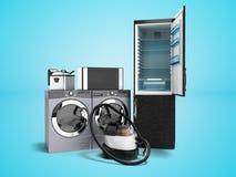 Lavadora del aspirador del lavado de la microonda del refrigerador de los aparatos electrodomésticos con la sartén 3d del secador ilustración del vector