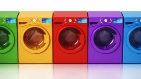 Lavadoras coloreadas multi aisladas en el fondo blanco ilustración 3D libre illustration
