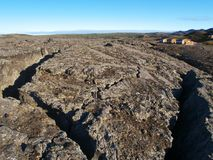 Lavafält i Reykjahlid, Island Arkivfoton