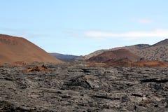 Lavafält på Isla Santiago (Galapagos) Arkivfoto
