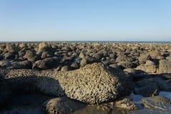 Lavafelsen an der Küste Stockbild