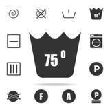 lavage de machine à 75 degrés d'icône Ensemble détaillé d'icônes de blanchisserie Conception graphique de qualité de la meilleure illustration de vecteur