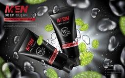Lavage de visage pour l'annonce des hommes Image stock