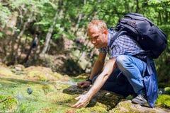 Lavage de voyageur avec de l'eau l'eau froide du ruisseau de forêt Photographie stock