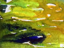 Lavage humide texturisé coloré de belle de ressac d'abrégé sur fond d'art d'aquarelle surface d'algue brouillé Image libre de droits
