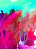 Lavage humide texturisé moderne de forêt d'automne de paysage de fond d'abrégé sur art d'aquarelle le beau d'arbres modernes de c Photographie stock libre de droits